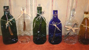 completed upcycled bottles