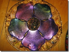 Blue Poppy plate - iridescent glass