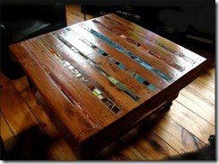 sofa table from pallet and stained glass