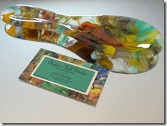 fused glass spoon rest 'Colors V'