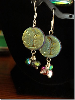 Dichro moon earrings